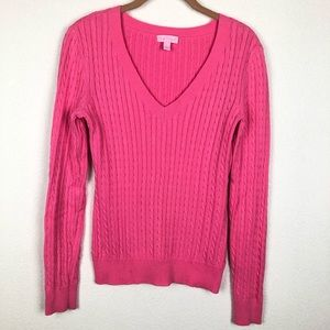 Lilly Pulitzer Pink V-Neck, Cable Knit Sweater S